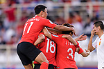 Hwang Uijo of South Korea celebrates scoring the team's first goal with teammates during the AFC Asian Cup UAE 2019 Group C match between South Korea (KOR) and China (CHN)  at Al Nahyan Stadium on 16 January 2019 in Abu Dhabi, United Arab Emirates. Photo by Marcio Rodrigo Machado / Power Sport Images