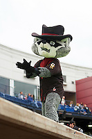 Quad Cities River Bandits mascot Rascal the River Bandit during the first game of a doubleheader against the Wisconsin Timber Rattlers on August 19, 2015 at Modern Woodmen Park in Davenport, Iowa.  Quad Cities defeated Wisconsin 3-2.  (Mike Janes/Four Seam Images)