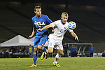 06 December 2014: North Carolina's Verneri Valimaa (18) and UCLA's Felix Vobejda (GER) (7). The University of California Los Angeles Bruins hosted the University of North Carolina Tar Heels at Drake Stadium in Los Angeles, California in a 2014 NCAA Division I Men's Soccer Tournament Quarterfinal round match. The game ended in a 3-3 tie after two overtimes. UCLA advanced to the next round by winning the penalty kick shootout 7-6.