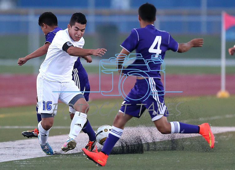 Boys varsity soccer action between Spanish Springs and Carson High, in Carson City, Nev., on Friday, Sept. 12, 2014. Carson won 5-0.<br /> Photo by Cathleen Allison