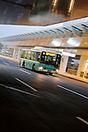 Photo shows Mitsubishi Fuso's Aerostar eco hybrid bus, which shuttles passeners between the domestic and international terminals of Haneda Airport  in Tokyo, Japan on 25 Jan. 2012. Photographer: Robert Gilhooly