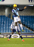 Aaron Pierre of Wycombe Wanderers during the Checkatrade Trophy round two Southern Section match between Millwall and Wycombe Wanderers at The Den, London, England on the 7th December 2016. Photo by Liam McAvoy.