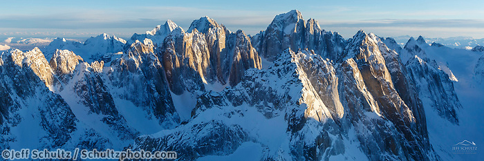 Winter Landscape aerial of Kichatna Mountains and Cathedral Spires in Denali National Park in Southcentral, Alaska  <br /> <br /> Photo by Jeff Schultz/SchultzPhoto.com  (C) 2018  ALL RIGHTS RESERVED