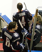Brittany Murphy (UConn - 8), Jody Sydor (UConn - 4), Casey Knajdek (UConn - 5) - The University of Connecticut Huskies defeated the Northeastern University Huskies 4-1 in Hockey East quarterfinal play on Saturday, February 27, 2010, at Matthews Arena in Boston, Massachusetts.