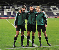 20131031 - ANTWERPEN , BELGIUM : Roumanian Referees pictured with Floarea Cristina Babadac-Ionescu (middle) , Gabriela Dananae and Spreanta Victoria Popescu before the female soccer match between Belgium and Portugal , on the fourth matchday in group 5 of the UEFA qualifying round to the FIFA Women World Cup in Canada 2015 at Het Kiel stadium , Antwerp . Thursday 31st October 2013. PHOTO DAVID CATRY