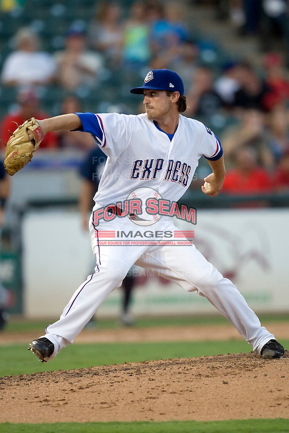 Round Rock Express pitcher Beau Jones #10 delivers during a game against the New Orleans Zephyrs at the Dell Diamond on July 21, 2011 in Round Rock, Texas.  New Orleans defeated Round Rock 7-4.  (Andrew Woolley/Four Seam Images)