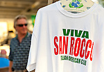 "At the Feast of St. Rocco, shirts with ""Viva San Rocco Italian American Club"" are for sale, on July 14, 2012, in Oyster Bay, New York, USA. The Italian American Citizens Club organized the five-day festival, which ends July 15, to promote Italian-American heritage."