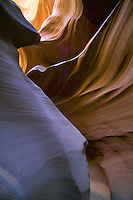 Sandstone hoodoos and sculptures created by erosion in the Antelope slot canyon of Arizona in the Colorado Plateau near Lake Powell and Page