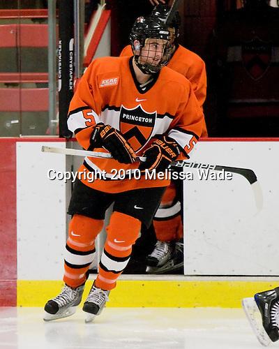 Derrick Pallis (Princeton - 5) - The Princeton University Tigers defeated the Harvard University Crimson 2-1 on Friday, January 29, 2010, at Bright Hockey Center in Cambridge, Massachusetts.