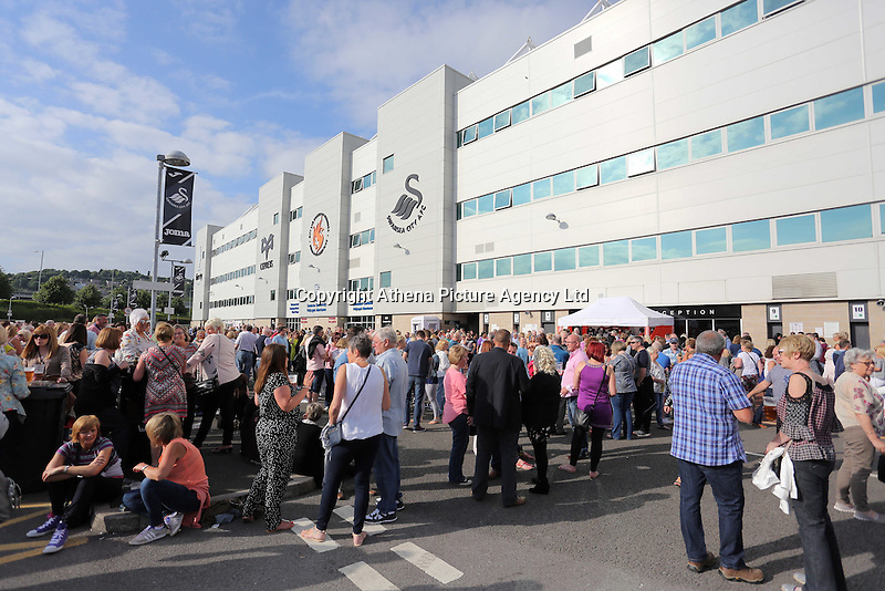 Pictured: A crowd of people outside the stadium Saturday 18 June 2016<br /> Re: Lionel Richie, All The Hits concert at the Liberty Stadium, Swansea, Wales, UK