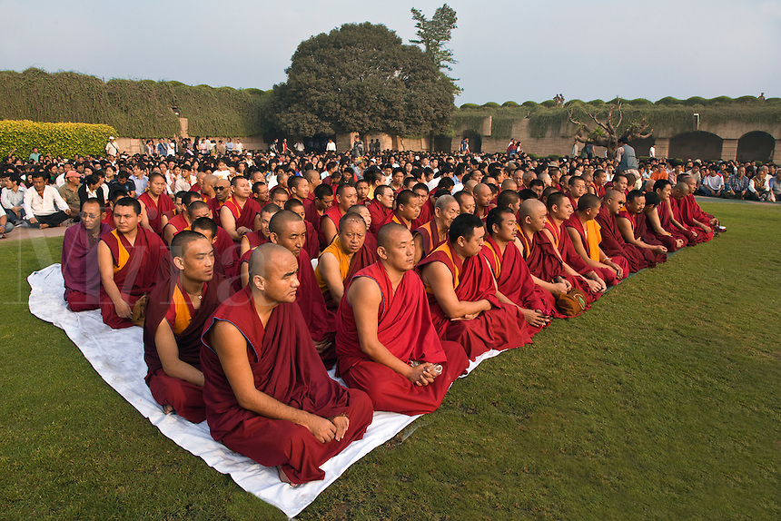 TIBETAN BUDDHIST MONKS attend a PRAYER FOR WORLD PEACE sponsored by the14th Dalai Lama of Tibet at the RAJ GHAT (Ghandi's eternal flame) in April of 2008 -  NEW DELHI, INDIA