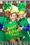 Pupils of CBS primary school Tralee looking forward to Saint Patrick's Day from left Shannon Oba, Rory Clifford and Alison McEvoy.