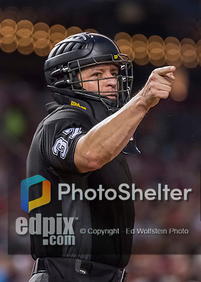 6 August 2016: MLB Umpire Carlos Torres calls a strike during a game between the San Francisco Giants and the Washington Nationals at Nationals Park in Washington, DC. The Giants defeated the Nationals 7-1 to even their series at one game apiece. Mandatory Credit: Ed Wolfstein Photo *** RAW (NEF) Image File Available ***
