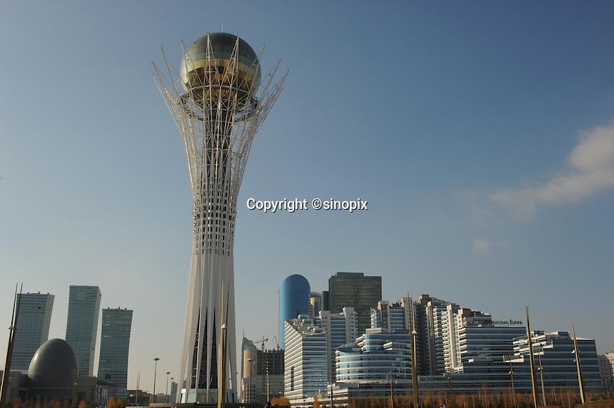 The  Bayterek tower in Astana, the capitol of Kazakstan. <br /> <br /> PHOTO BY RICHARD JONES/SINOPIX