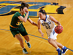 BROOKINGS, SD - JANUARY 6: Sydney Palmer #32 from South Dakota State University drives against Reilly Jacobson #32 from North Dakota State University  during their game Saturday afternoon at Frost Arena in Brookings, SD. (Photo by Dave Eggen/Inertia)