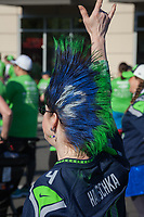 Seahawks fan with blue and green mohawk, Seahawks 12K Run 2016, The Landing, Renton, Washington, USA.