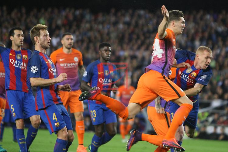 UEFA Champions League 2016/2017 - Matchday 3.<br /> FC Barcelona vs Manchester City: 4-0.<br /> Ivan Rakitic, John Stones &amp; Jeremy Mathieu.