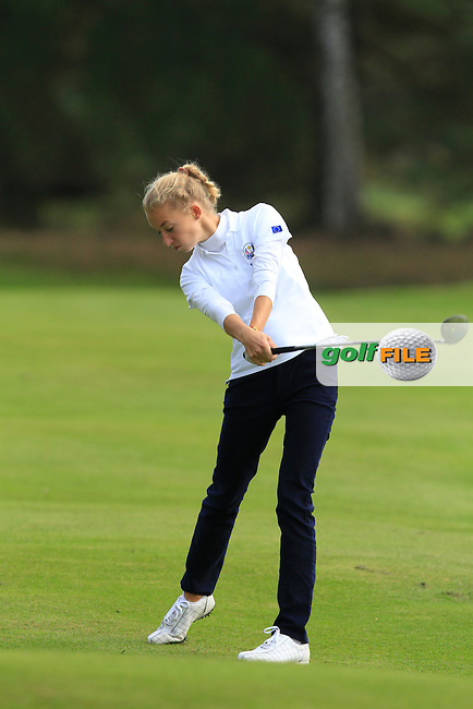 Alexandra Forsterling (GER) on the 6th hole of the Mixed Fourballs, puts to go two up during the 2014 JUNIOR RYDER CUP at the Blairgowrie Golf Club, Perthshire, Scotland. <br /> Picture:  Thos Caffrey / www.golffile.ie