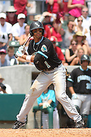 The Coastal Carolina University Chanticleers center fielder Rico Noel #1 at bat during the 2nd and deciding game of the NCAA Super Regional vs. the University of South Carolina Gamecocks on June 13, 2010 at BB&T Coastal Field in Myrtle Beach, SC.  The Gamecocks defeated Coastal Carolina 10-9 to advance to the 2010 NCAA College World Series in Omaha, Nebraska. Photo By Robert Gurganus/Four Seam Images