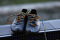 A pair of boots with rainbow laces promotes equality and diversity and supports LGBT people in Sport and beyond during Brentford vs Luton Town, Sky Bet EFL Championship Football at Griffin Park on 30th November 2019