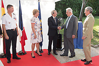 French Ambassador in Spain Yves Saint-Geours (C) and his wife Jocilene (CL); Enrique Mujica (CR); Luis del Val (R)