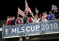 21 November 2010: FC Dallas fans show their support during the 2010 MLS Cup Final between the Colorado Rapids and FC Dallas at BMO Field in Toronto, Ontario Canada...