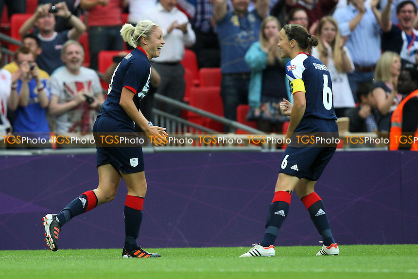 Steph Houghton (L) celebrates her goal with Casey Stoney - Great Britain Women vs Brazil Women - Womens Olympic Football Tournament London 2012 Group E at Wembley Stadium, London - 31/07/12 - MANDATORY CREDIT: Gavin Ellis/SHEKICKS/TGSPHOTO - Self billing applies where appropriate - 0845 094 6026 - contact@tgsphoto.co.uk - NO UNPAID USE.