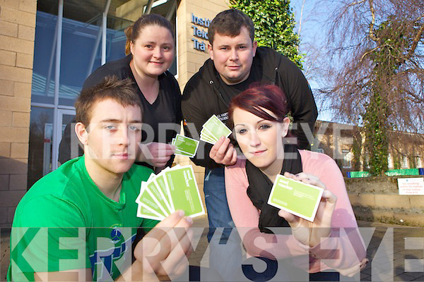 FOOD VOUCHERS: Students who are still waiting on their SUSI grants are being assisted by the Students Union Hardship Fund. Pictured from front l-r were: Eoin Murray (SU VP Education), Karen Sheahan (SU VP Welfare). Back l-r were: Joanne Sheehan and Niall Harty (SU President).
