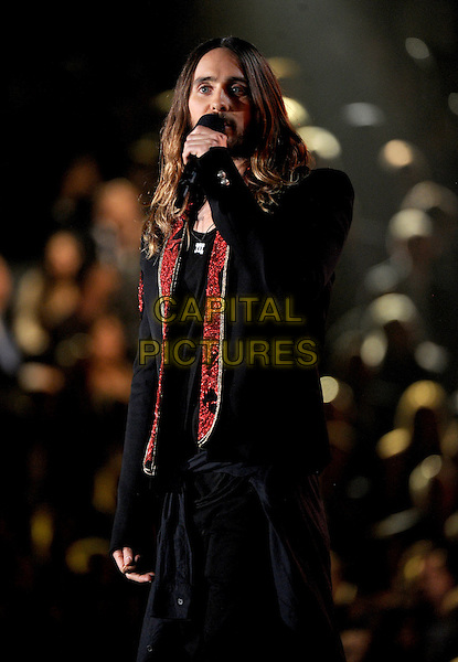 LOS ANGELES, CA - JANUARY 26 : Jared Leto speaks onstage at The 56th Annual GRAMMY Awards at Staples Center on January 26, 2014 in Los Angeles, California.<br /> CAP/MPI/PG<br /> &copy;PGFMicelotta/MediaPunch/Capital Pictures