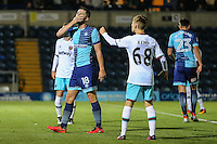 Danny Rowe of Wycombe Wanderers (18) shows his disappointment after seeing his shot miss the target during the The Checkatrade Trophy match between Wycombe Wanderers and West Ham United U21 at Adams Park, High Wycombe, England on 4 October 2016. Photo by David Horn.