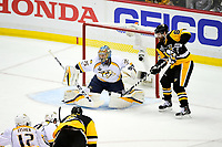 May 29, 2017: Nashville Predators goalie Pekka Rinne (35) tends the net as Pittsburgh Penguins right wing Phil Kessel (81) positions himself for a shot during game one of the National Hockey League Stanley Cup Finals between the Nashville Predators  and the Pittsburgh Penguins, held at PPG Paints Arena, in Pittsburgh, PA.   Eric Canha/CSM