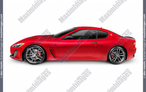 2015 Red Maserati GranTurismo MC Centennial Edition luxury car side view. Isolated on white background with clipping path.