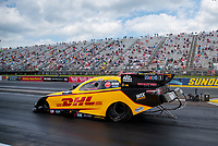 Jul 18, 2020; Clermont, Indiana, USA; NHRA funny car driver J.R. Todd during qualifying for the Summernationals at Lucas Oil Raceway. Mandatory Credit: Mark J. Rebilas-USA TODAY Sports