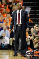 Virginia Tech head coach James Johnson watches a play during the game Tuesday in Charlottesville, VA. Virginia defeated Virginia Tech73-55.