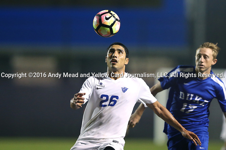 27 September 2016: Georgia State's Salomon Lorenzano (26) and Duke's Bryson Asher (17). The Duke University Blue Devils hosted the Georgia State University Panthers at Koskinen Stadium in Durham, North Carolina in a 2016 NCAA Division I Men's Soccer match. Georgia State won the game 2-1 in two overtimes.