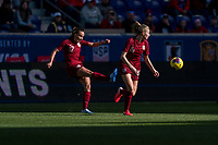 HARRISON, NJ - MARCH 08: Lucy Staniforth #17 of England takes a free kick during a game between England and Japan at Red Bull Arena on March 08, 2020 in Harrison, New Jersey.