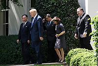 US President Donald Trump walks out of the Oval Office with Kim Yong Chol, former North Korean military intelligence chief and one of leader Kim Jong Un's closest aides, in Washington on Friday, June 1, 2018. <br /> CAP/MPI/RS<br /> &copy;RS/MPI/Capital Pictures