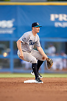Tampa Tarpons shortstop Kyle Holder (8) waits for a throw down on a stolen base attempt during a game against the Dunedin Blue Jays on June 2, 2018 at Dunedin Stadium in Dunedin, Florida.  Dunedin defeated Tampa 4-0.  (Mike Janes/Four Seam Images)