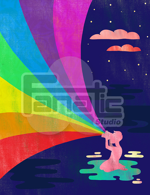 Illustrative image of man looking rainbow through binoculars representing aspiration