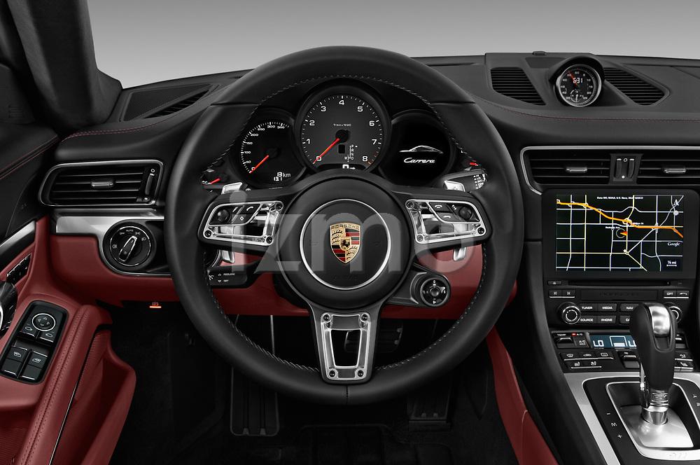 Car pictures of steering wheel view of a 2018 Porsche 911 Carrera S 2 Door Coupe