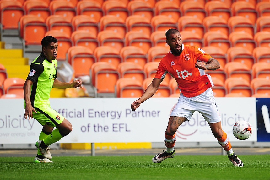 Blackpool's Colin Daniel under pressure from Exeter City's Troy Brown<br /> <br /> Photographer Kevin Barnes/CameraSport<br /> <br /> Football - The EFL Sky Bet League Two - Blackpool v Exeter City - Saturday 6th August 2016 - Bloomfield Road - Blackpool<br /> <br /> World Copyright &copy; 2016 CameraSport. All rights reserved. 43 Linden Ave. Countesthorpe. Leicester. England. LE8 5PG - Tel: +44 (0) 116 277 4147 - admin@camerasport.com - www.camerasport.com