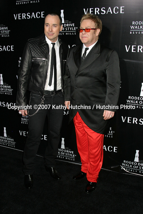 David Furnish & Elton John.Rodeo Walk of Style Award IHO  Gianni & Donatella Versace.City Hall, Beverly Hills, CA.February 8, 2007.©2007 Kathy Hutchins / Hutchins Photo.