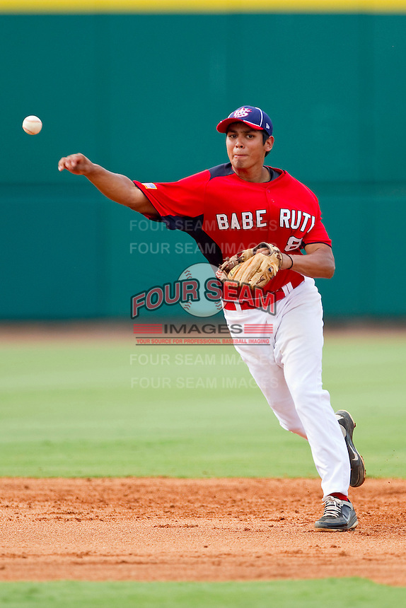 Shortstop Rio Ruiz #8 of Babe Ruth makes a throw to first base against AABC at the 2011 Tournament of Stars at the USA Baseball National Training Center on June 26, 2011 in Cary, North Carolina.  Babe Ruth defeated AABC 3-2 in the Gold Medal game. (Brian Westerholt/Four Seam Images)