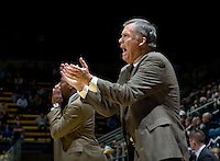 California head coach Mike Montgomery applauds for his players during the game against Pepperdine at Haas Pavilion in Berkeley, California on November 13th, 2012.  California defeated Pepperdine, 79-62.