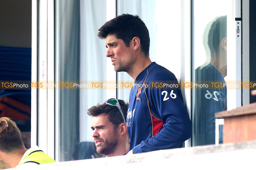 Alastair Cook (R) and James Anderson look on from the balcony during Essex CCC vs Lancashire CCC, Specsavers County Championship Division 1 Cricket at The Cloudfm County Ground on 7th April 2017