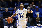 08 January 2015: Duke's Ka'lia Johnson. The Duke University Blue Devils hosted the Syracuse University Orange at Cameron Indoor Stadium in Durham, North Carolina in a 2014-15 NCAA Division I Women's Basketball game. Duke won the game 74-72.