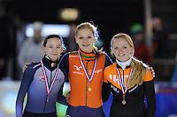 SHORTTRACK: AMSTERDAM: 05-01-2014, Jaap Edenbaan, NK Shorttrack, podium 1000m, Dames Junior B, Selma Poutsma, Aafke Soet , Esmée Messemaker, ©foto Martin de Jong