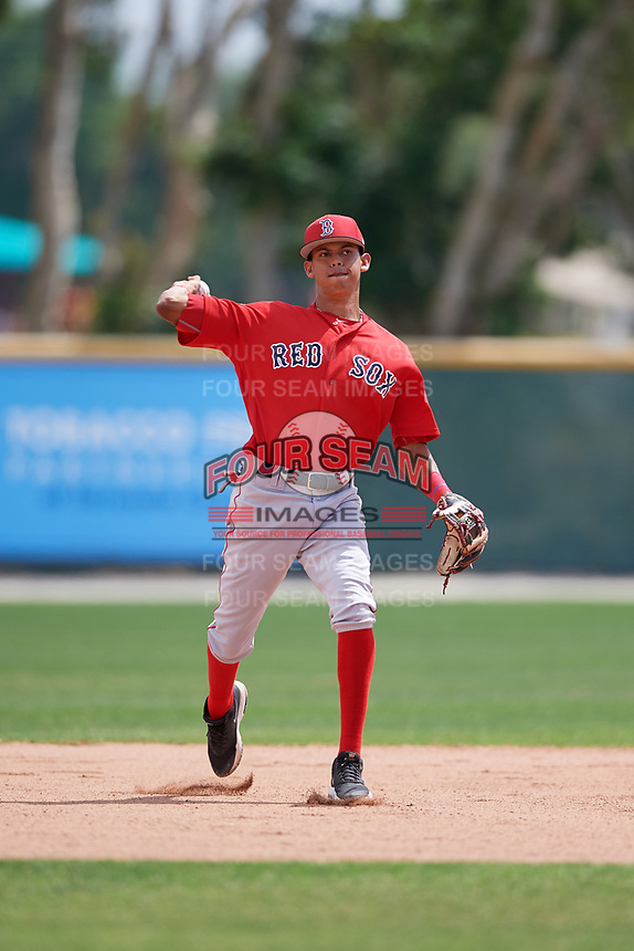 Boston Red Sox Ricardo Cubillan (3) during a Minor League Spring Training game against the Baltimore Orioles on March 20, 2018 at Buck O'Neil Complex in Sarasota, Florida.  (Mike Janes/Four Seam Images)