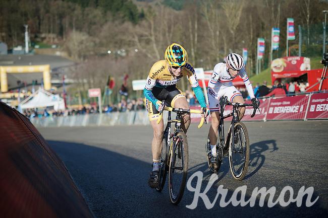 Helen Wyman (GBR/Kona) &amp; Ellen Van Loy (BEL/Telenet-Fidea) fight it out for 2nd place on the Raidillon finish climb<br /> <br /> Superprestige Francorchamps 2014