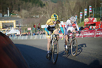 Helen Wyman (GBR/Kona) &amp; Ellen Van Loy (BEL/Telenet-Fidea) fight it out for 2nd place on the Raidillon finish climb<br /> <br /> Superprestige Francorchamps 2014